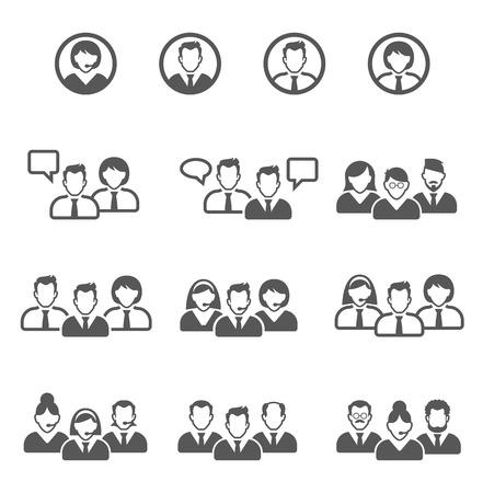 Ilustración de Vector black people icons set. user icons - Imagen libre de derechos