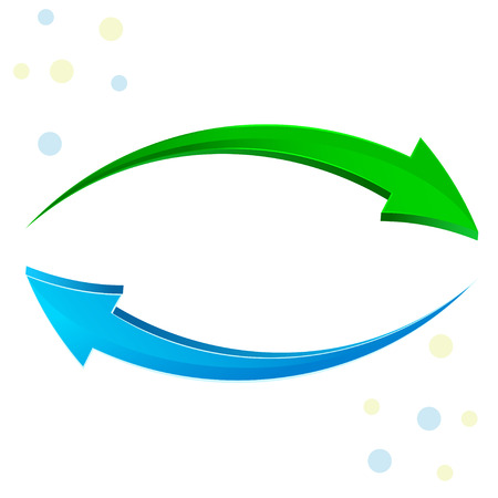 Illustration pour 3d glossy refresh icon, green and blue arrows isolated on white - image libre de droit