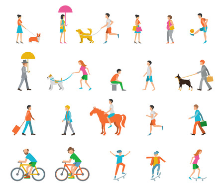 Illustration pour People on the street. Neighbors. Flat icons. - image libre de droit