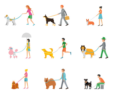 Ilustración de People walk their dogs on a leash. - Imagen libre de derechos