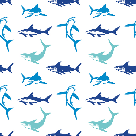 Ilustración de Sharks silhouettes seamless pattern. Elegant seamless pattern with abstract shark symbols, design elements. Can be used for invitations, greeting cards, print, gift wrap, manufacturing. - Imagen libre de derechos