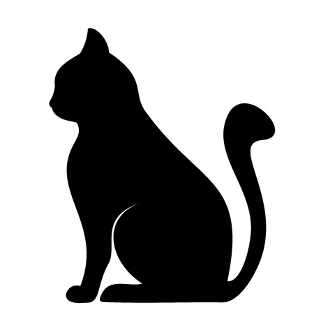 Black silhouette of cat  Vector illustration