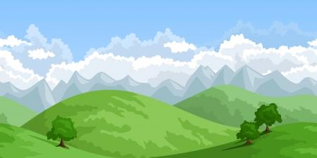 Horizontal seamless summer landscape.  illustration.