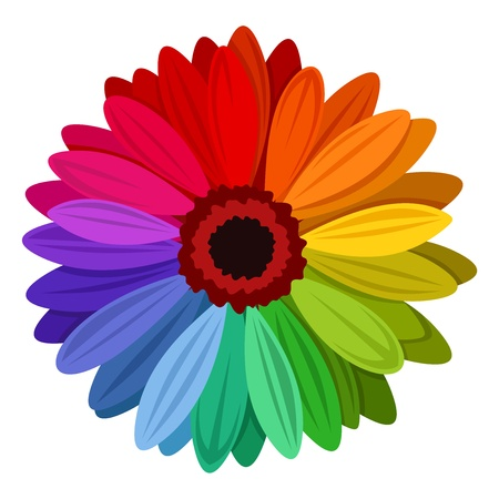 Ilustración de Gerbera flowers with multicolored petals. Vector illustration. - Imagen libre de derechos