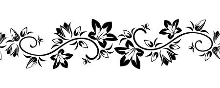 Illustration pour Horizontal seamless vignette with flowers  Vector illustration  - image libre de droit