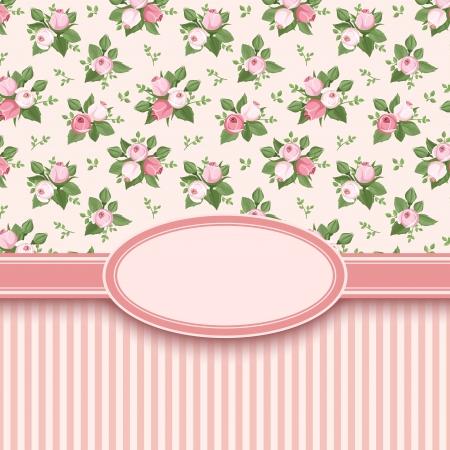 Photo pour Vintage card with roses and stripes  Vector illustration  - image libre de droit