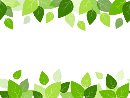Illustration pour Horizontal seamless background with green leaves  Vector - image libre de droit