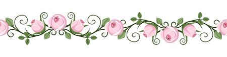 Illustration pour Vintage horizontal seamless vignettes with pink rose buds illustration  - image libre de droit