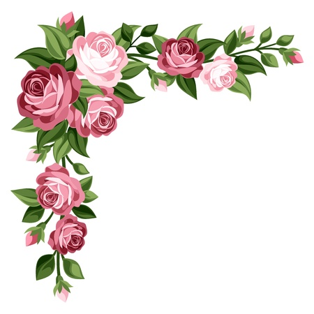 Photo for Pink vintage roses, rosebuds and leaves illustration  - Royalty Free Image