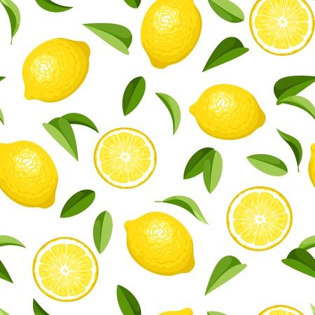 Ilustración de Seamless background with lemons  Vector illustration  - Imagen libre de derechos