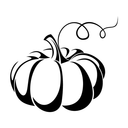 Illustration for Pumpkin  Vector black silhouette  - Royalty Free Image
