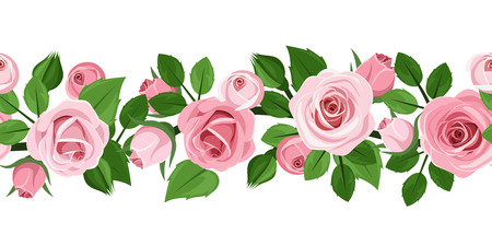 Illustration pour Horizontal seamless background with pink roses  Vector illustration  - image libre de droit