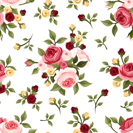 Illustration for Vintage seamless pattern with roses  Vector illustration  - Royalty Free Image