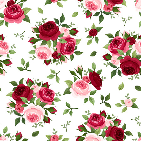 Photo pour Seamless pattern with red and pink roses  Vector illustration  - image libre de droit