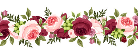 Illustration pour Horizontal seamless background with roses  Vector illustration  - image libre de droit