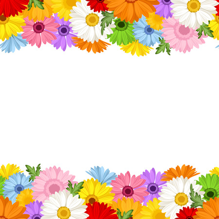 Illustration pour Horizontal seamless background with gerbera flowers  Vector illustration  - image libre de droit