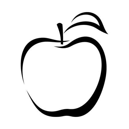 Illustration pour Apple  Vector black contour  - image libre de droit