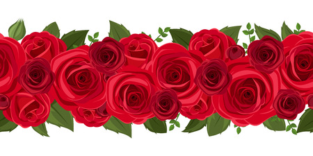 Illustration pour Horizontal seamless background with red roses  Vector illustration  - image libre de droit