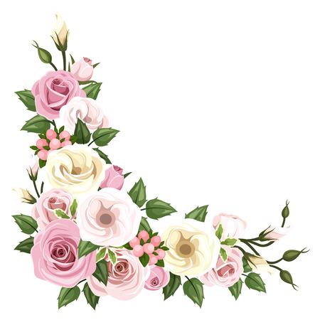 Illustration pour Roses and lisianthus flowers  Vector corner background  - image libre de droit