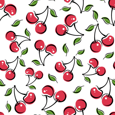 Illustration for Seamless background with cherry  Vector illustration  - Royalty Free Image