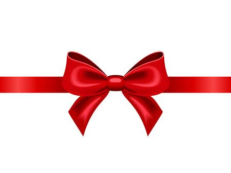 Illustration pour Red ribbon with bow  Vector illustration  - image libre de droit