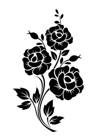 Illustration pour Branch with flowers  Vector black silhouette  - image libre de droit