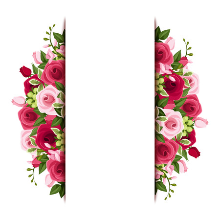Illustration pour Background with red and pink roses and freesia flowers   - image libre de droit