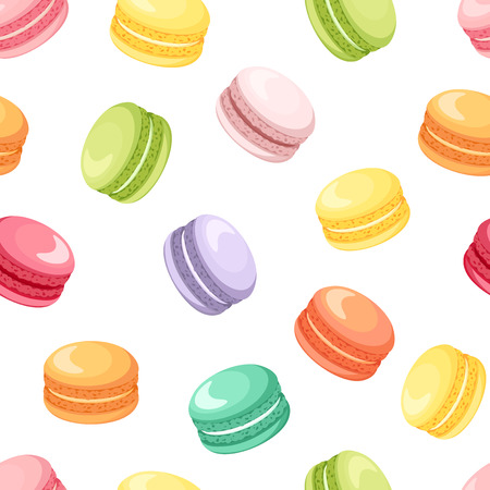 Ilustración de Seamless pattern with colorful macaroon cookies on white. Vector illustration. - Imagen libre de derechos