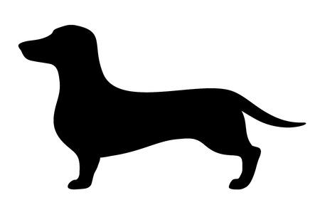 Ilustración de Dachshund dog. Vector black silhouette. - Imagen libre de derechos