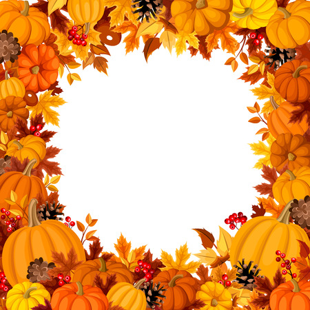 Background with orange pumpkins and autumn leaves. Vector illustration.