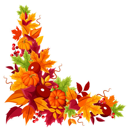 Ilustración de Corner background with pumpkins and colorful autumn leaves. Vector illustration. - Imagen libre de derechos
