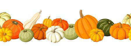 Ilustración de Horizontal seamless background with colorful pumpkins. Vector illustration. - Imagen libre de derechos