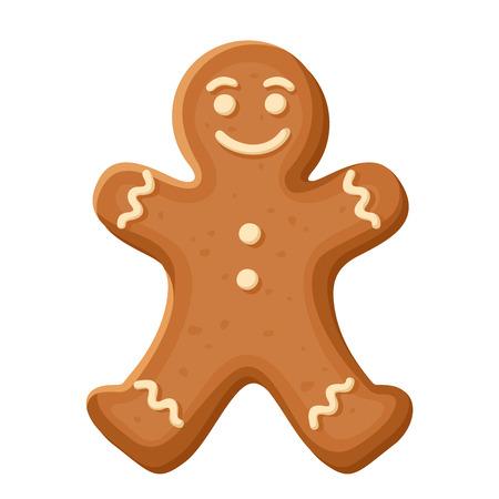 Illustration pour Gingerbread man. Vector Christmas cookie. - image libre de droit