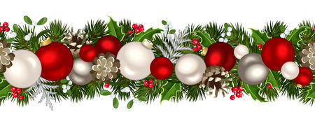 Illustration for Christmas horizontal seamless background. Vector illustration. - Royalty Free Image