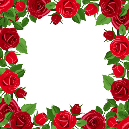 Illustration pour Frame with red roses and green leaves. Vector illustration. - image libre de droit