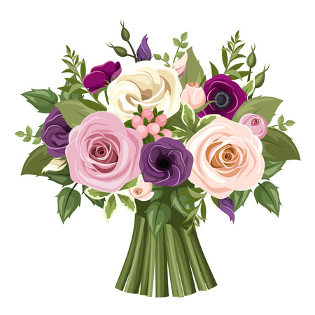 Illustration for Bouquet of colorful roses and lisianthus flowers. Vector illustration. - Royalty Free Image