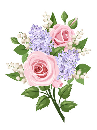 Illustration for Bouquet with pink roses, lily of the valley and lilac flowers. Vector illustration. - Royalty Free Image