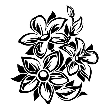 Illustration pour Flowers black and white ornament. Vector illustration. - image libre de droit