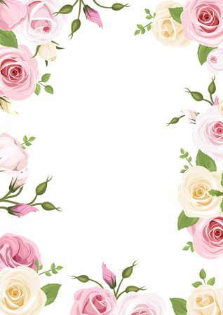 Illustration pour Background with pink and white roses and lisianthus flowers illustration. - image libre de droit