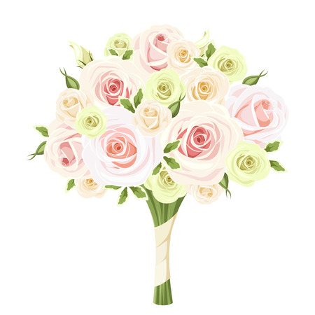 Illustration for Wedding bouquet of pink, white and green roses. Vector illustration. - Royalty Free Image