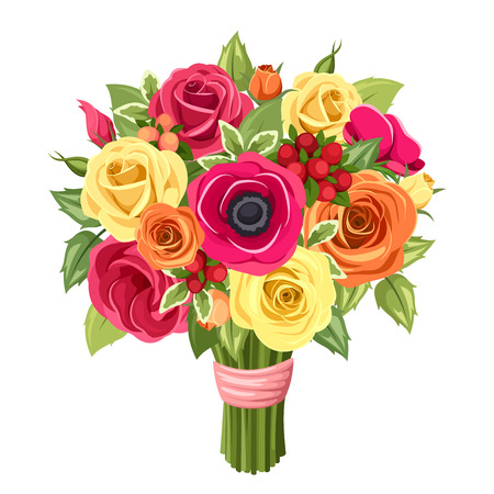 Illustration for Bouquet of colorful roses, lisianthus and anemones flowers. Vector illustration. - Royalty Free Image
