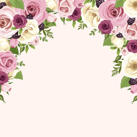 Illustration pour Background with pink and white roses and lisianthus flowers. Vector illustration. - image libre de droit