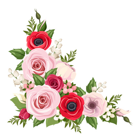 Illustration for Red and pink roses, lisianthus and anemone flowers and lily of the valley. Vector corner background. - Royalty Free Image