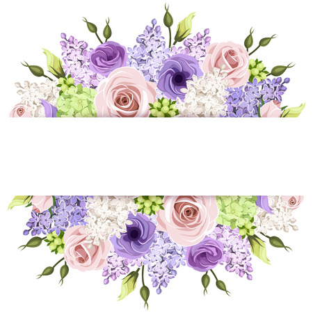 Illustration for Background with pink, purple and white roses and lilac flowers. Vector eps-10. - Royalty Free Image