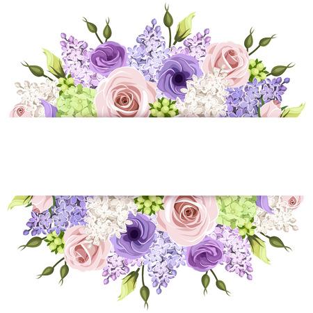Ilustración de Background with pink, purple and white roses and lilac flowers. Vector eps-10. - Imagen libre de derechos