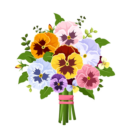 Illustration for Bouquet of colorful pansy flowers. Vector illustration. - Royalty Free Image