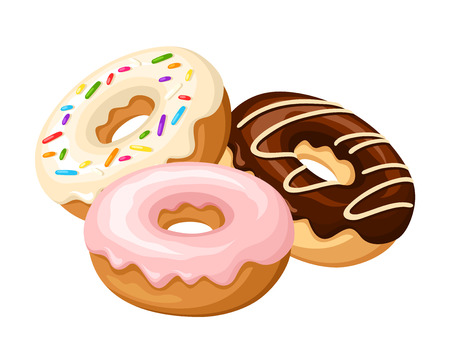 Illustration pour Three donuts with glaze and sprinkles isolated on a white background. Vector illustration. - image libre de droit