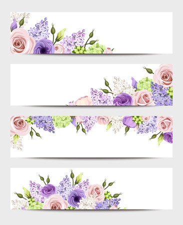 Illustration pour Web banners with pink, purple and white roses and lilac flowers. Vector eps-10. - image libre de droit