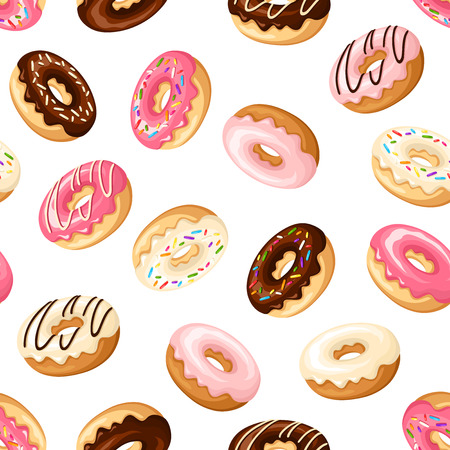 Illustration pour Seamless background with donuts. - image libre de droit