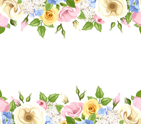 Illustration pour Vector horizontal seamless background with pink, yellow, blue and white roses, lisianthuses, lilac and hydrangea flowers and green leaves. - image libre de droit